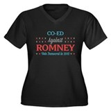 Co-Ed Against Romney Women's Plus Size V-Neck Dark
