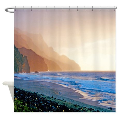 kalalau beach sunset tropical shower curtain by skystudio
