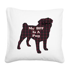 BFF Pug Square Canvas Pillow