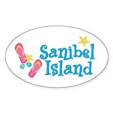 Sanibel Island Flip-Flops Oval Decal