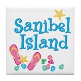 Sanibel Island Flip-Flops Tile Coaster
