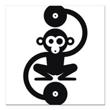 "Monkey Music Square Car Magnet 3"" x 3"""