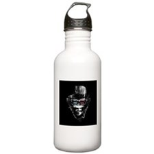 Black Ground 3-D Hipster Monkey Water Bottle