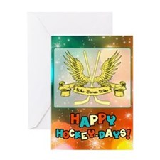 Who Scores Wins Hockey Christmas Greeting Cards