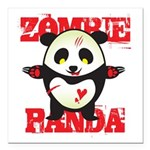 Zombie Panda Square Car Magnet 3&quot; x 3&quot;