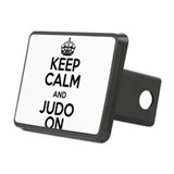 Keep Calm and Judo On Black Print Rectangular Hitc