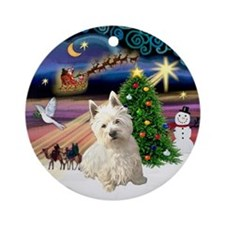 Xmas Magic & Westie (S) Ornament (Round)