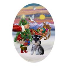 Santa's Treat Min. Schnauzer (Z2) Oval Ornament