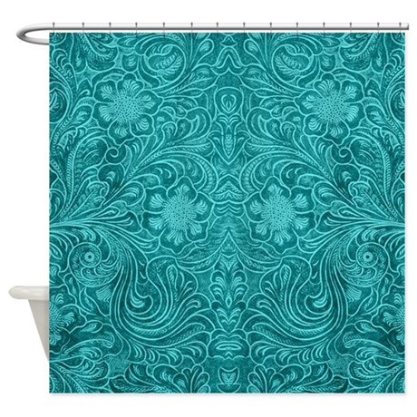 Leather Look Floral Turquoise Shower Curtain By Artonwear