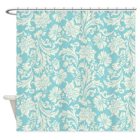 Turquoise and cream damask shower curtain by artonwear - White and turquoise curtains ...
