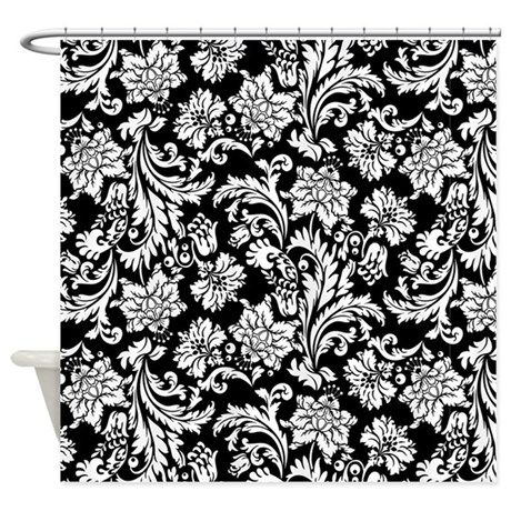 White On Black Damask Shower Curtain By Artonwear