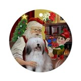 Santa's Polish Lowland Sheepdog Ornament (Round)