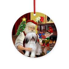 Santa's Polish Lowland Sheepdog Ornament (Round)