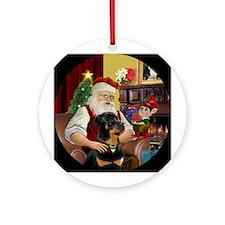 Santa's Rottweiler Ornament (Round)
