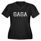 GAGA, Vintage Women's Plus Size V-Neck Dark T-Shir