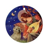 Mandolin Angel &amp; Norfolk Terrier Ornament (Round)