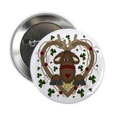 Christmas Reindeer Wreath Buttons (10 pack)