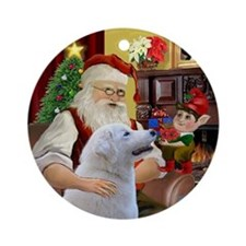 Santa at home with his Kuvasz Ornament (Round)