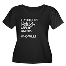 Funny, Catnip, Women's Plus Size Scoop Neck Dark T