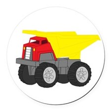 Yellow and Red Dump Truck Construction Vehicle Rou