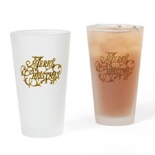 Merry Christmas In Gold Drinking Glass
