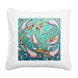 Pink Dolphin Square Canvas Pillow