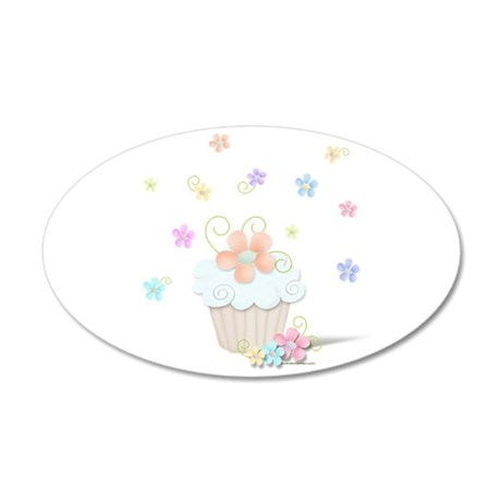 Cupcakes and Flowers 20x12 Oval Wall Decal