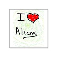"i love spooky aliens Square Sticker 3"" x 3"""