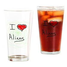 i love spooky aliens Drinking Glass