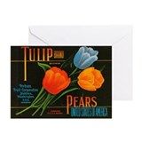 Vintage Tulip Pear Label Greeting Cards (Pk of 10)