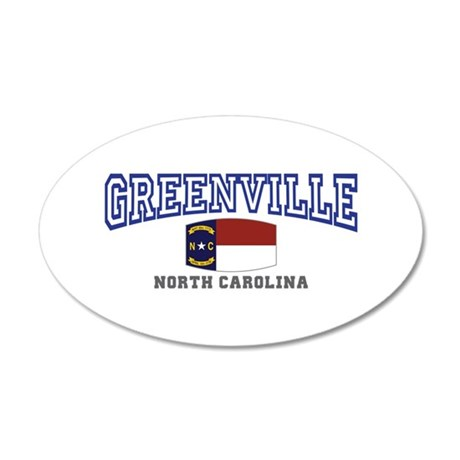 Greenville, North Carolina, NC, USA 35x21 Oval Wal