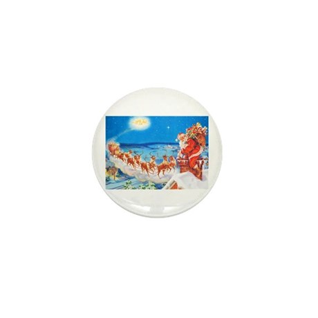 Santa Claus Up On The Roofto Mini Button (10 pack)