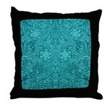 Leather Look Floral Turquoise Throw Pillow
