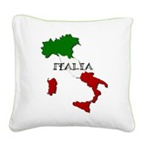 Italy Flag Map Square Canvas Pillow