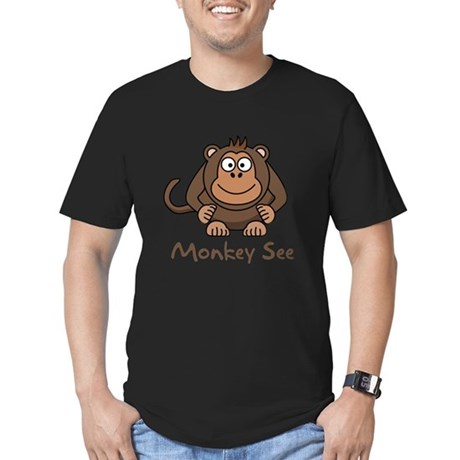 Monkey See Monkey Do Men's Fitted T-Shirt (dark)