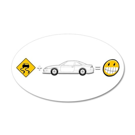 Caution sign Drift and S14 is fun 35x21 Oval Wall