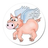 flying Pig 2 Round Car Magnet