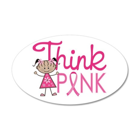 Think Pink 20x12 Oval Wall Decal