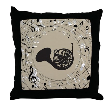 French Horn Musical Gift Throw Pillow