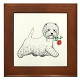 Red Flower Westie III Framed Tile