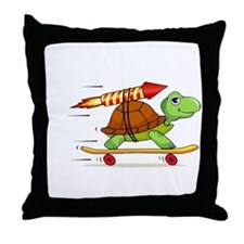 Rocket Propelled Tortoise Throw Pillow