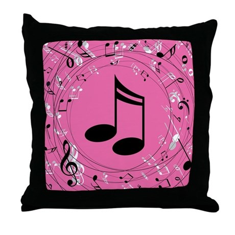 Music Notes (Pink) Gift Throw Pillow
