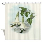 Datura and Hummingbird Print Shower Curtain