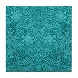 Leather Look Floral Turquoise Tile Coaster