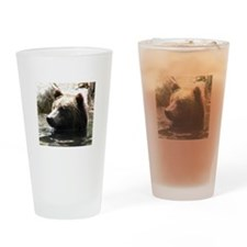 ALERT GRIZZLY BEAR Drinking Glass