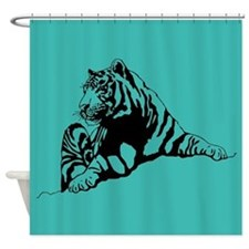 Funny Tiger shower Shower Curtain