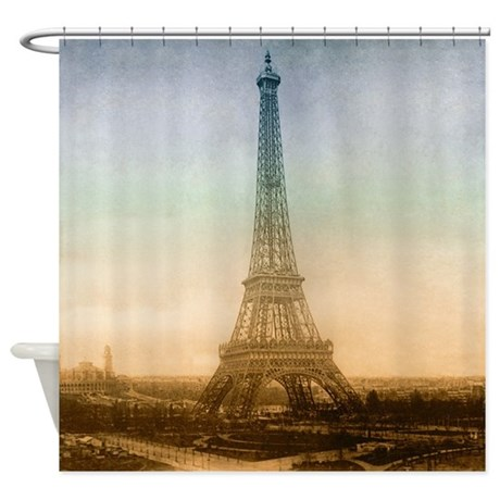 The eiffel tower in paris shower curtain by vintagelove1 for Eiffel tower bathroom accessories
