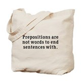 Prepositions Tote Bag