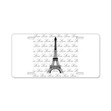 Paris Eiffel Tower Love Black and White Script Alu