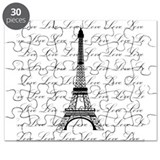 Paris Eiffel Tower Love Black and White Script Puz